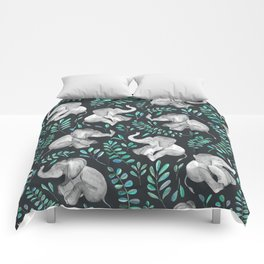 Laughing Baby Elephants – emerald and turquoise Comforters