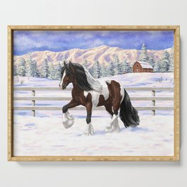Brown and White Bay Pinto Skewbald Gypsy Vanner Draft Horse In Snow Serving Tray