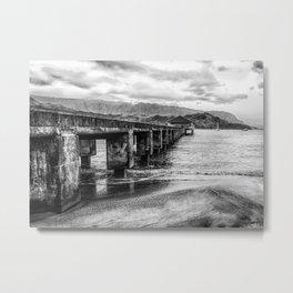 Hanalei Pier Black and White Metal Print