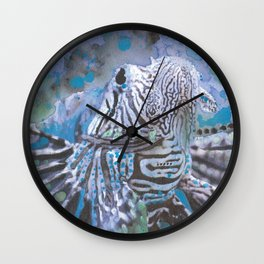 "Tropical Lion Fish Watercolor Aquatic Fish Painting ""Spread Your Fins"" Wall Clock"