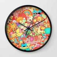 kpop Wall Clocks featuring Wackoblast! by Sillyrabs