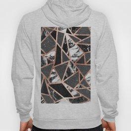 Modern Rose Gold Glitter Marble Geometric Triangle Hoody