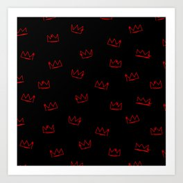 Crowns - Red on Black Art Print