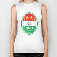 pirlo Biker Tanks featuring World Cup Football 2/8 - Italia (Distressed) by Made of Thoughts