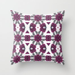 Kaleidoscope Flowers in Pink and Purple #1 Throw Pillow