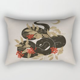 Black Snake with Golden Leaves Rectangular Pillow