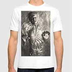 Han Solo carbonite MEDIUM White Mens Fitted Tee