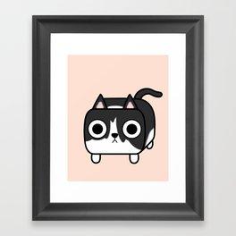 Cat Loaf - Tuxedo Kitty - Black and White Framed Art Print