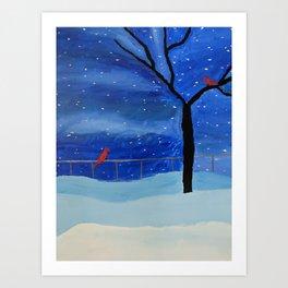Snowy Winter Night Print Art Print