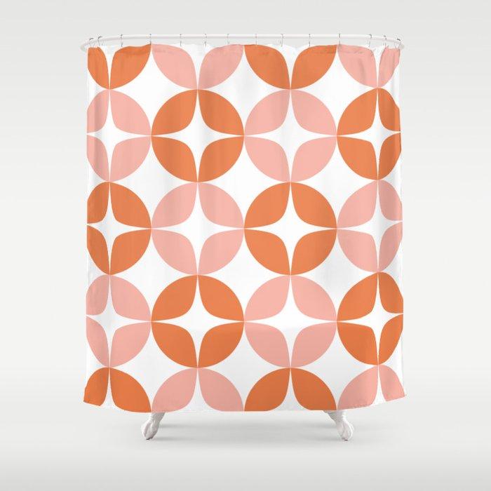 Mid Century Modern Motif Pattern in Burnt Orange and Blush Shower Curtain