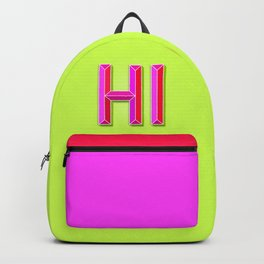 """""""HI"""" 3D Letters (Lime Green Yellow Neon, Hot Pink) Backpack"""