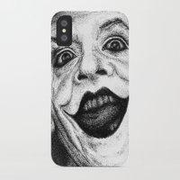 jack nicholson iPhone & iPod Cases featuring Jack Nicholson Joker Stippling Portrait by Joanna Albright