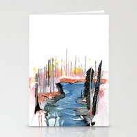 river Stationery Cards featuring River by Halfmoon Industries