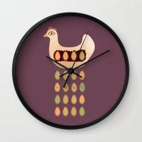 chicken Wall Clocks featuring Chicken by Mira Maijala