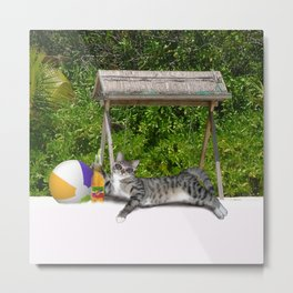Vacation Time - Beach Bum Kitty Metal Print
