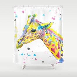 Giraffe - Watercolor Painting Shower Curtain