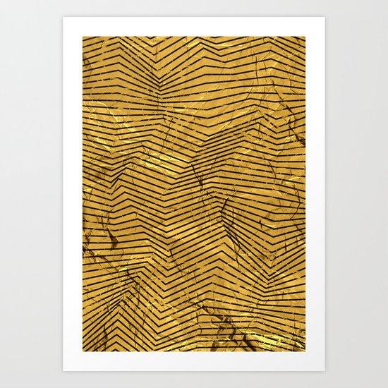 Line Gold Pattern Art Print