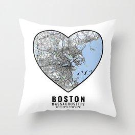 Boston Heart Map Art Throw Pillow