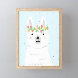 l is for llama Framed Mini Art Print