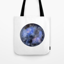 Watercolor Galaxy with Snowflakes Tote Bag