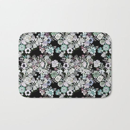 Colorful black detailed floral pattern Bath Mat