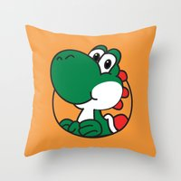 yoshi Throw Pillows featuring Yoshi by pondlifeforme