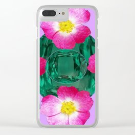 PINK PURPLE-ROSE GREEN GEMS BIRTHSTONES Clear iPhone Case