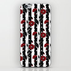 Retro. Red poppies on a black and white striped background. iPhone & iPod Skin