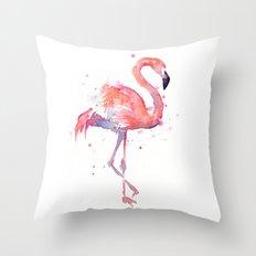 Pink Flamingo Watercolor | Tropical Animals Bird Flamingos Throw Pillow