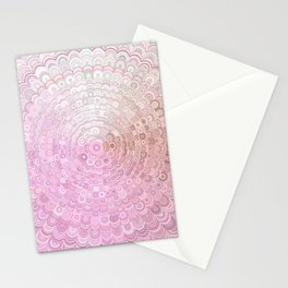 Pink and White Flower Mandala Stationery Cards