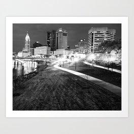 The Scioto Mile and Columbus Skyline - Black and White Art Print