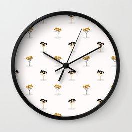 Stylized Single Tree Wood Repeating Seamless Pattern Orange Wall Clock