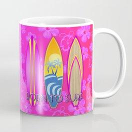 Pink Born To Surf Pink Flowers Coffee Mug
