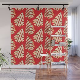 Christmas Tree Cakes Pattern - Red Wall Mural