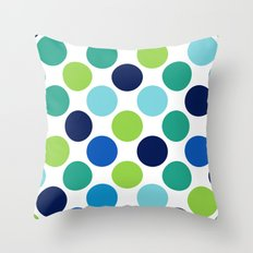 Big Loving Dots: Blue Multi Throw Pillow