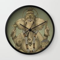 ganesha Wall Clocks featuring Ganesha by Sumi Senthi