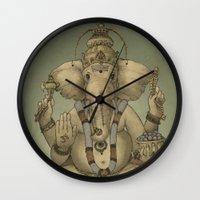ganesha Wall Clocks featuring Ganesha by Sumi Senthi