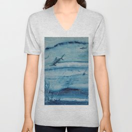 Sharks in deep blue Unisex V-Neck