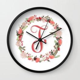 Personal monogram letter 'F' flower wreath Wall Clock
