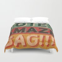 totes Duvet Covers featuring Totes Amaze-Bag! by NOT MY TYPE