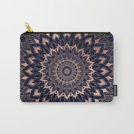 Boho rose gold floral mandala on navy blue watercolor Carry-All Pouch