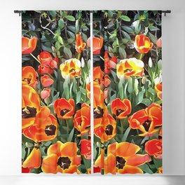 Tulips On Fire Artistic Floral Flowerbed v2 Blackout Curtain