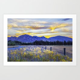 Magnificent glowing sunset over blue mountains and field flowers in New Zealand Art Print