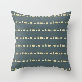 pumpkin silhouettes yellow on blue Throw Pillow