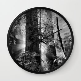 Old Growth Forest Light Black and White Wall Clock
