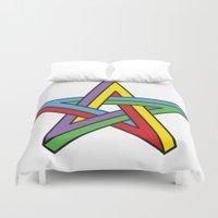 pentagram Duvet Covers featuring Impossible Pentagram by Stephen Kemmy Graphic Designer