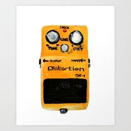 Guitar Distortion Pedal Acrylics On Paper (White Edit) Art Print