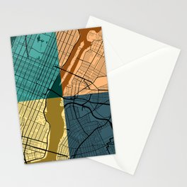 New York Colorful Street Map Stationery Cards