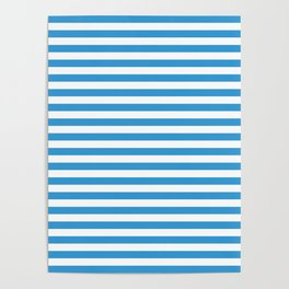 Blue , white , striped Poster