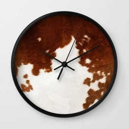 brown cowhide watercolor Wall Clock